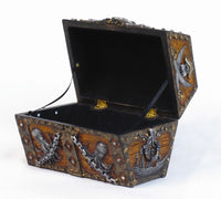 Skull and Chain Pirate's Chest Jewelry/Trinket Box Figurine 5 Inches L