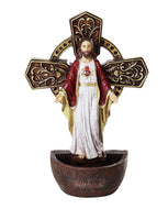 The Sacred Heart of Jesus Holy Water Font Religious Sacrament Wall Decor 6.75 inches