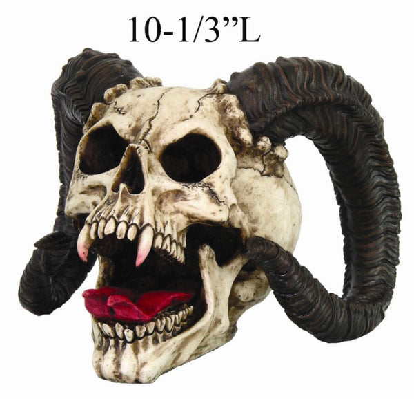 Evil Ram Horned Skull with Tongue Out Figurine Statue 10.5 inch long