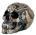 Black and Gold Color Celtic Pattern Skull Statue Figurine 7 inch
