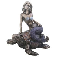 5.25 Inch Blue Violet tailed Mermaid sitting on a Sea Turtle