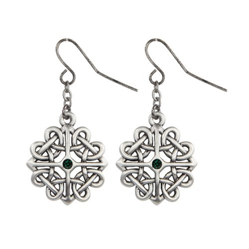 Celtic Flower with Green Crystal Pewter Earrings Jewelry- Mystica Collection