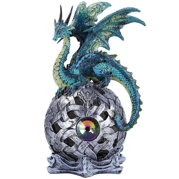 Pacific Trading Handpainted Resin Dragon On Color-Changing and Emitting LED Lighted Sphere