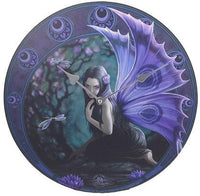 "Anne Stokes Naiad Fairy Evening Yuletide Dragonfly Wall Clock Round Plate 13.5""D"