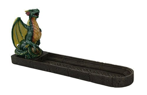 9.5 Inch Green Celtic Dragon Resin Incense Burner Statue Figurine