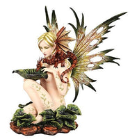 14.25 Inch Nude Winged Fairy with Dragon and Serpent Statue Figurine