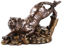 Pacific Giftware Feng Shui Bronze Golden Tiger On Bed of Coins Prosperity Home Decoration Gift