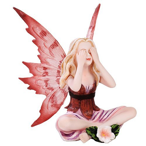 Small Playful Red Flower Peekabo Fairy Figurine Made of Polyresin