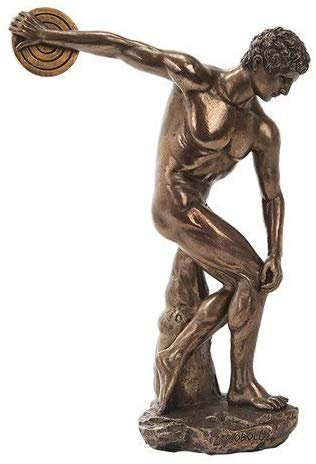 PTC 10.75 Inch Bronze Colored Discovolous with Disc Figurine Statue