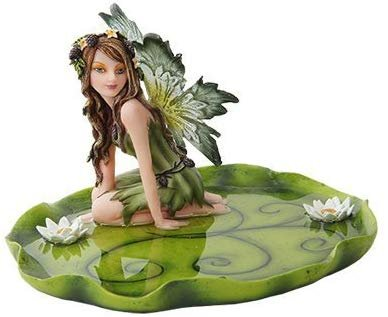 10274 Resin Jewelry Holder Tray Dish Fairy Figurine on Leaf, 6.25""