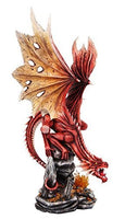 PTC 19.5 Inch Fire Breathing Red Dragon on Cascading Rock Statue Figurine