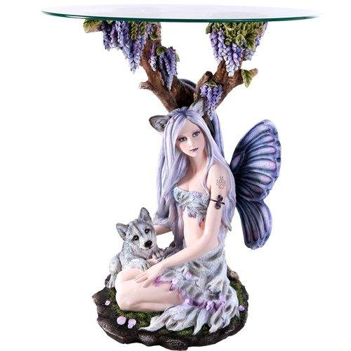 Beautiful Wolf Fairy with Wolf Cub Resting Under Grape Tea Accent Table 28...