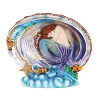 Celestial Water Mermaid Pearl Shell Figurine Sirena de Mar Statue Koi Fish Beach