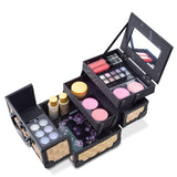 "Mini Makeup Train Case 9.5"" Aluminum Professional Cosmetic Organizer Box with Mirror"