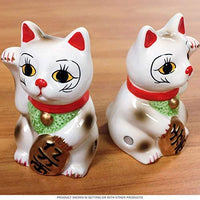 Japanese Maneki Neko - Magnetized Ceramic Salt & Pepper Shakers