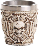 Novelty Decorative Ossuary Style Skull Skeletal Bones Shot Glasses Set of 2