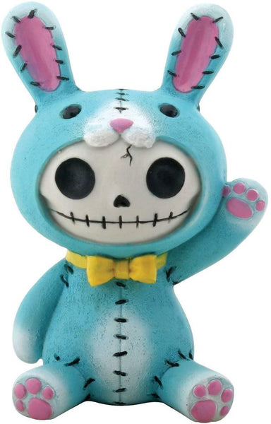 SUMMIT COLLECTION Furrybones Blue Bun Bun Signature Skeleton in Bunny Rabbit Costume Wearing Yellow Bow Tie