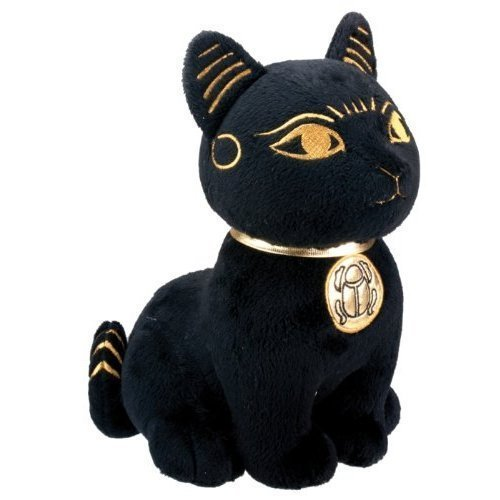 Black and Gold Ancient Egyptian Bastet Cat Kitty Plush Doll