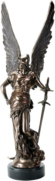 YTC 35.25 Inch Bronze Colored Armored Angel of Victory with Sword Statue