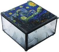 YTC 4 Inch Van Gogh - Starry Night Clear Glass Decoration Trinket Box
