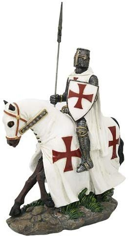 Crusader Knight on Horse Collectible Made of Polyresin