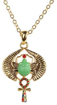 Egyptian Scarab Golden Pewter Necklace Jewelry- Mystica Collection