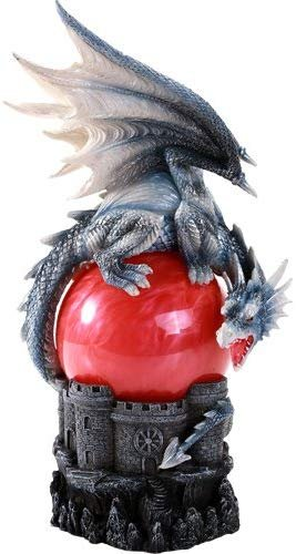 Pacific Giftware Guardian Dragon Perched On Red Sand Storm Ball Collectible Sound Activated