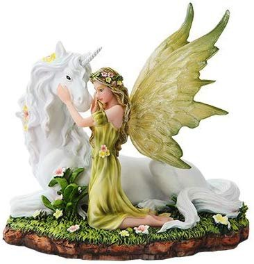 PTC 7 Inch Green Winged Fairy with Magical Unicorn Statue Figurine
