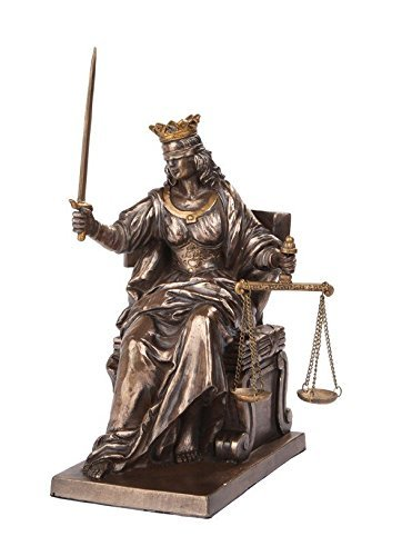 PTC 5 Inch Seated Justice with Scales and Sword Legal Statue Figurine