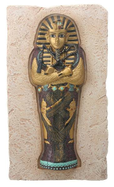 8 Inch Egyptian King Tut Coffin Set in Stone Background Plaque