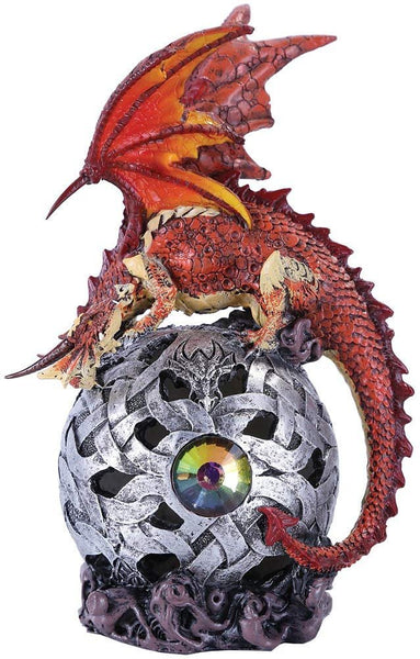 Fierce Red Dragon LED Light Ball Home Decor Figurine Handpainted Resin