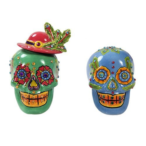 Pacific Giftware Day of Dead Sugar Blue & Green Skulls Salt & Pepper Shakers Set Rhinestone DOD