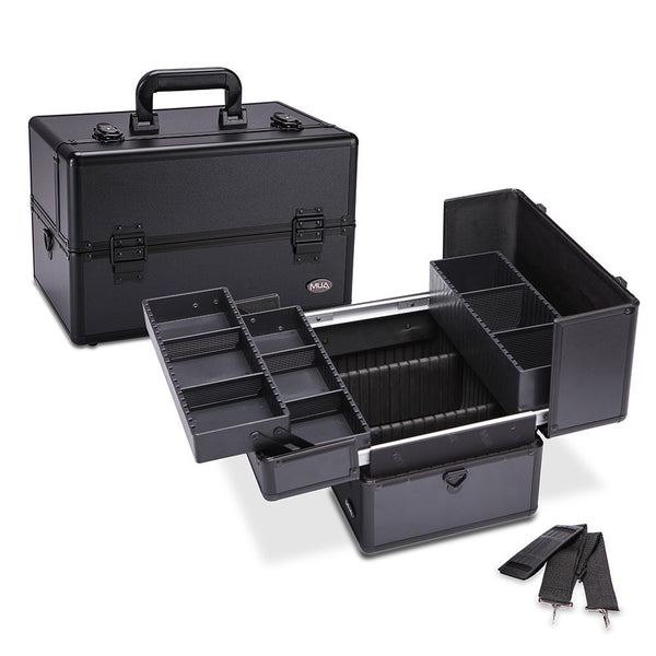 "Makeup Train Case 14.5"" Professional Cosmetic Organizer Box with Removable/Adjustable Dividers"