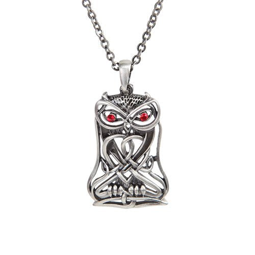 CELTIC NIGHT SHADE OWL NECKLACE PENDANT PEWTER ALLOY