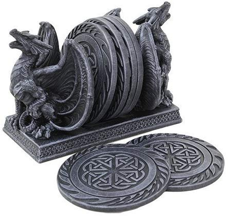 CASTLE DOUBLE DRAGON TABLE COASTERS SET SCULPTURE COOL FINISH