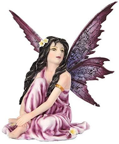 5.25 Inch Fairyland Purple Winged Fairy with Flowers Statue Figurine