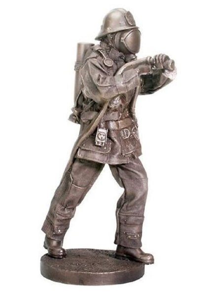 Heirloom-quality Statuette of Heroic Firefighter in full turnout gear using hose