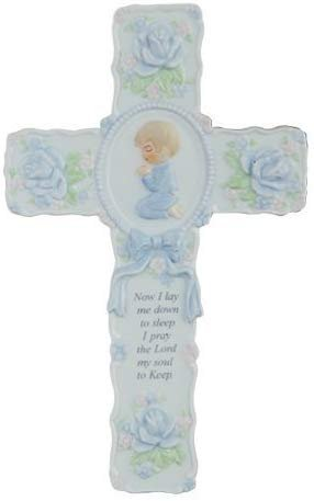 "Pacific Giftware Porcelain Bisque Praying Boy Wall Cross with Childs Prayer Statue, 8.5"" W"