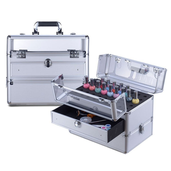 "Clear Panel Top Nail Polish Makeup Train Case 16"" Aluminum Professional Cosmetic Organizer Box with Slide Out Drawer"
