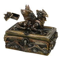 Steampunk Gears and Metal Dragon Jewelry Trinket Box Mythical Fantasy Decoration