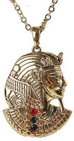 EGYPTIAN PHARAOH GOLDEN NECKLACE PENDANT PEWTER ALLOY