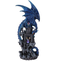 Pacific Giftware Mythical Blue Dragon Protecting Dragon Kingdom Castle with Illuminated Dragon Head Figurine 20 Inch