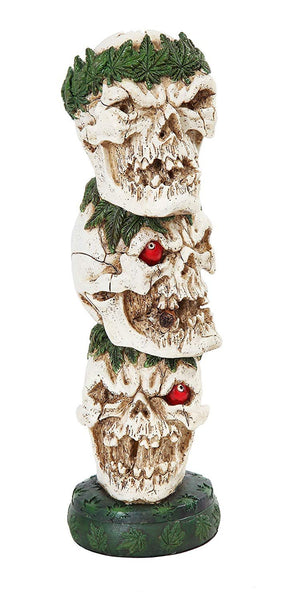 "PTC Stacked One Eyed Skulls Incense Burner Statue Figurine, 12"" H"