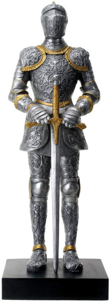 "12"" Silver Tone Italian Knight with Gold Tone Details Statue Display"