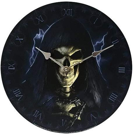 "Pacific Giftware Grim Reaper Wall Clock by James Ryman Gothic Round Plate 13.5"" D"