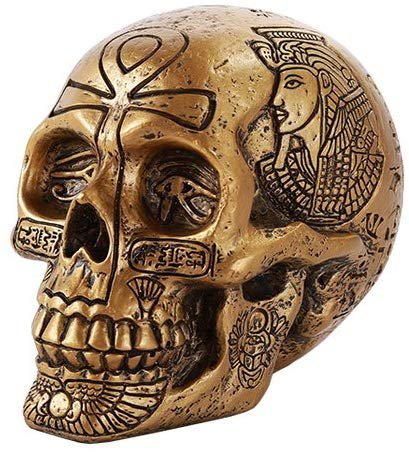 Ancient Egyptian Inspired Nefertiti King Tut Ankh Golden Skull Collectible