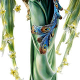 Large Graceful Peacock Fairy with Lily Flowered Wings Embracing Peacock Figurine 22 Inch