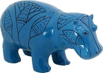 SUMMIT COLLECTION Blue Egyptian Faience Hippopotamus with River Flower Design, 3.25 Inches