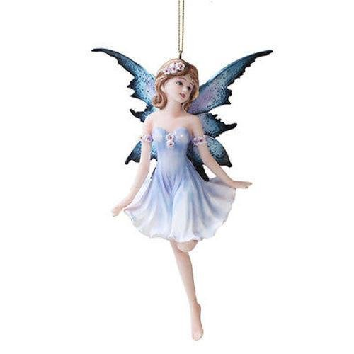 Dancing Blue Ballerina Flower Fairy Ornament Figurine Hanging Faerie Home Decor