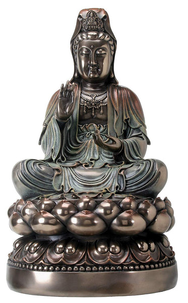 Bronze Metal Colored Sitting Kuan Yin on Lotus Figurine Display